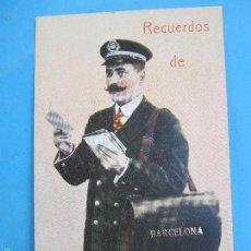 Postales: CARTERO VISELADO , RECUERDOS DE BARCELONA UNION POSTALE UNIVERSELLE , AÑOS 20-30. Lote 60649253