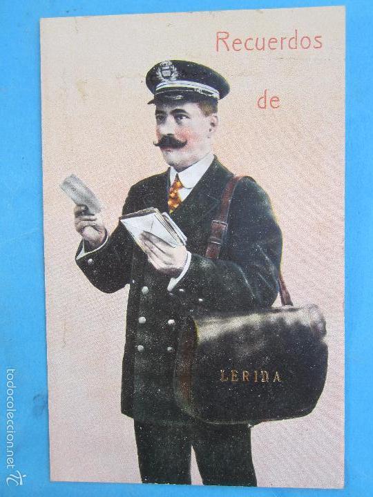 CARTERO VISELADO , RECUERDOS DE LERIDA , UNION POSTALE UNIVERSELLE , AÑOS 20-30 (Postales - España - Cataluña Antigua (hasta 1939))