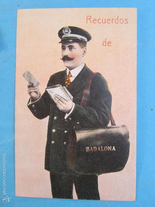 CARTERO VISELADO , RECUERDOS DE BADALONA , UNION POSTALE UNIVERSELLE , AÑOS 20-30 (Postales - España - Cataluña Antigua (hasta 1939))