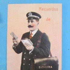 Postales: CARTERO VISELADO , RECUERDOS DE BADALONA , UNION POSTALE UNIVERSELLE , AÑOS 20-30. Lote 55986258