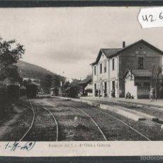Postales: AMER - ESTACIO DEL F.C. OLOT A GIRONA - FERROCARRIL - CIRCULADA -(42.693). Lote 56147409