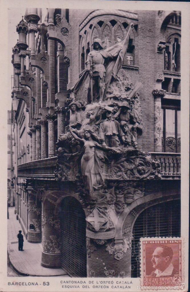 POSTAL FOTOG. BARCELONA 53.- ESQUINA DEL ORFEON CATALAN. CIRCULADA. VER REVERSO. ZERKOWITZ (Postales - España - Cataluña Antigua (hasta 1939))
