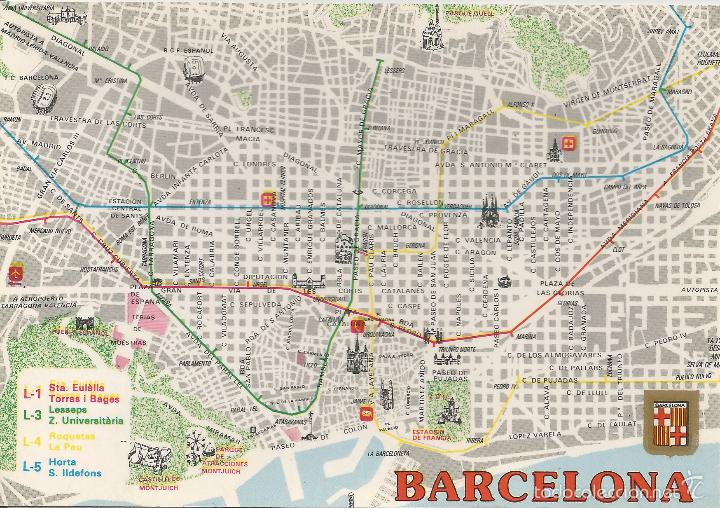 Barcelona Mapa Del Metro De Barcelona Escudo Sold Through