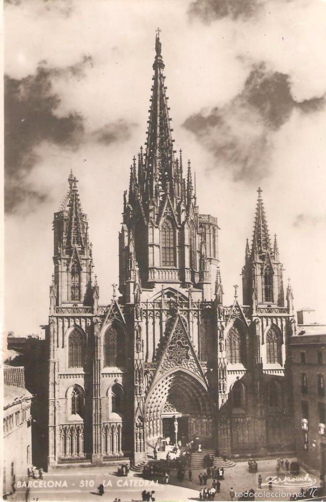 BARCELONA, LA CATEDRAL, ZERKOWITZ, CIRCULADA CON DOS SELLOS (Postales - España - Cataluña Antigua (hasta 1939))