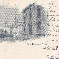 Postales: MASNOU. CASA TORRE JOSÉ MARTÍ. SIN DIVIDIR. CIRCULADA EN 1903.. Lote 59107845