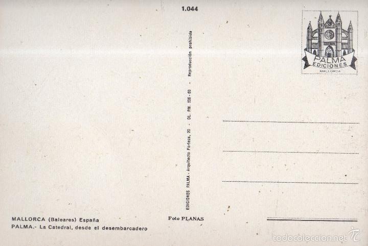 Postales: VESIV POSTAL MALLORCA PALMA LA CATEDRAL DESDE EL DESEMBARCADERO - Foto 2 - 59164885