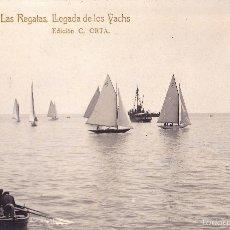 Postales: MASNOU. LAS REGATAS. LLEGADA DE LOS YACHS. EDICIÓN C. ORTA. CIRCULADA. FOTOGRÁFICA. Lote 59476504