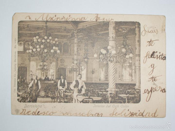 FOTO, POSTAL INTERIOR DEL CAFÉ COLÓN. BARCELONA Nº 14481 DR. TRENDLER CO,LEIPZIG. (Postales - España - Cataluña Antigua (hasta 1939))