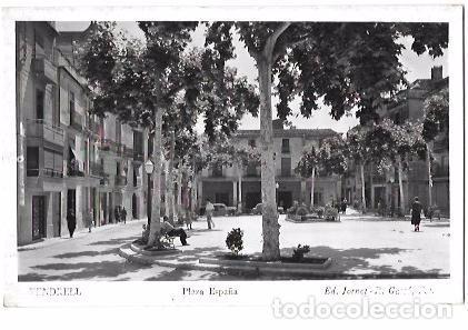 TARJETA POSTAL DE VENDRELL. TARRAGONA. PLAZA DE ESPAÑA. ED. JORNET- R. GASSÓ, FOT. (Postales - España - Cataluña Antigua (hasta 1939))