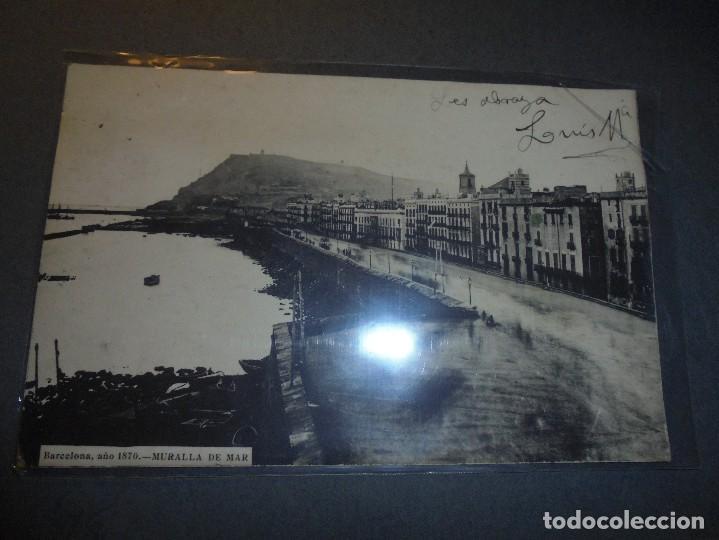 POSTAL - BARCELONA , AÑO 1870 - MURALLA DE MAR . POSTAL CIRCULADA REVERSO SIN DIVIDIR . 14X9 CM. (Postales - España - Cataluña Antigua (hasta 1939))