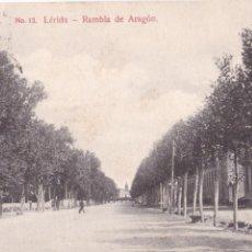 Postales: P- 6261. POSTAL DE LERIDA, RAMBLA DE ARAGON. Nº 13.. Lote 63200956