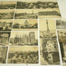 Postales: LOTE 14 POSTALES DE BARCELONA + 3 DE MADRID,VALENCIA(EXPOSICIÓN REGIONAL VALENCIANA) Y PERPIGNAN. Lote 64416483