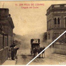 Postales: MAGNIFICA POSTAL - SAN FELIU DE CODINAS (BARCELONA) - LLEGADA DEL COCHE - AMBIENTADA. Lote 49487612
