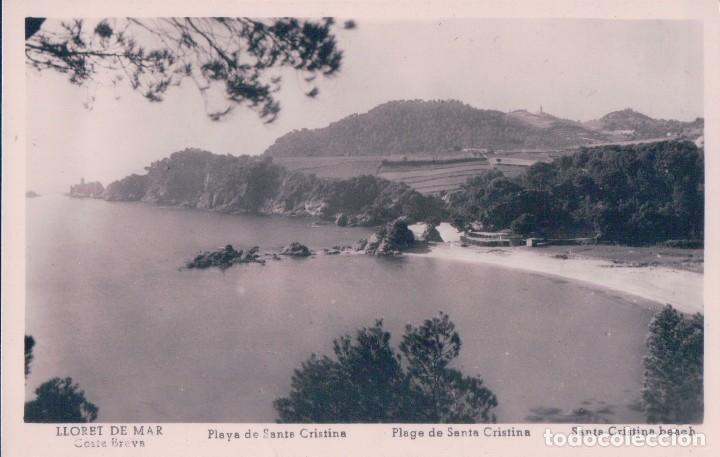 POSTAL LLORET DE MAR - PLAYA DE SANTA CRISTINA - COSTA BRAVA - FOTOGRAFICA (Postales - España - Cataluña Antigua (hasta 1939))