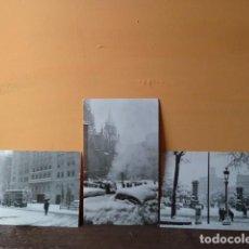 Postales: BARCELONA 3 POSTALES DE LA NEVADA DE 1962 EN TAMAÑO PANORAMICO PROPAGANDA DE LABORATORIO MEDICO. Lote 74471447