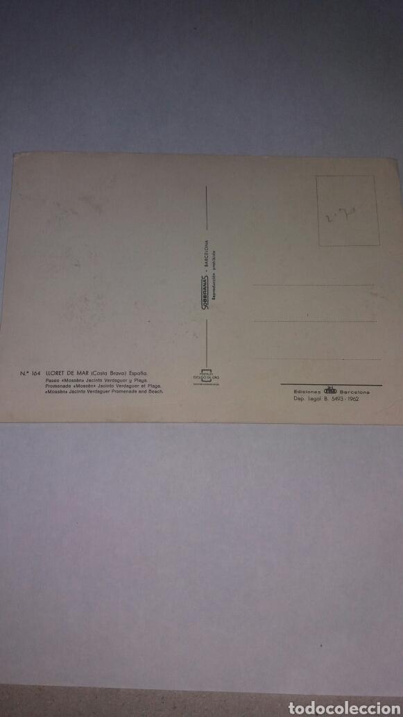 Postales: ANTIGUA POSTAL LLORET DE MAR PLAYA COSTA BRAVA 1962 - Foto 2 - 74934587