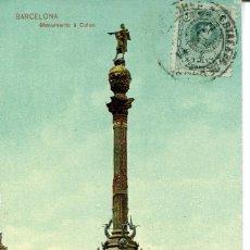 Postales: BARCELONA-MONUMENTO A COLÓN-CARRUAJE ANIMADA- 1908- TRENKLER. Lote 77447881