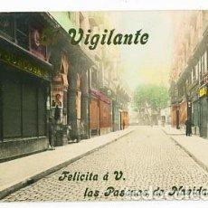 Postales: BARCELONA POSTAL FOTOGRÁFICA VIGILANTE FELICITACION NAVIDAD. CALLE FERRAN. FABRICA CHOCOLATE JUNCOSA. Lote 77858001