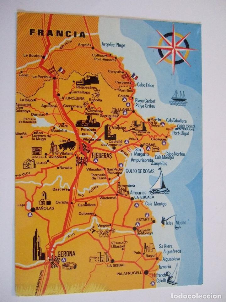 Costa Brava Espana Mapa.Postal Gerona Costa Brava Mapa Guia Meli Buy Postcards From Catalonia At Todocoleccion 77867645