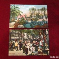 Postales: PAREJA DE POSTALES DE 1900 COLOREADAS DE BARCELONA. Lote 78589081