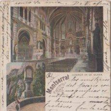 Postales: MONSERRAT (BARCELONA) INTERIOR DE LA CAPILLA - LITOGRAFÍA M. PUJDAS - BARCELONA. Lote 80056421