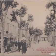 Postales: SAN FELIU DE GUIXOLS (GERONA) - RAMBLA VIDAL - L. ROISIN FOT. BARCELONA. Lote 80788450
