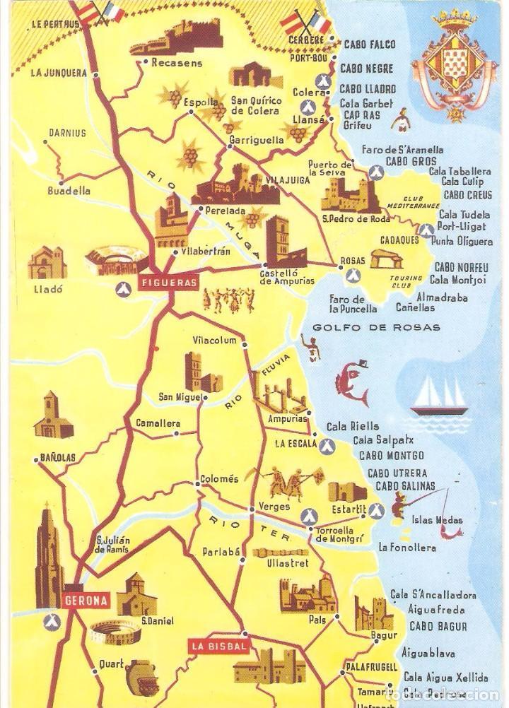 Costa Brava Espana Mapa.Girona Postal Costa Brava Mapa Guia Figueras Buy Postcards From Catalonia At Todocoleccion 81701840