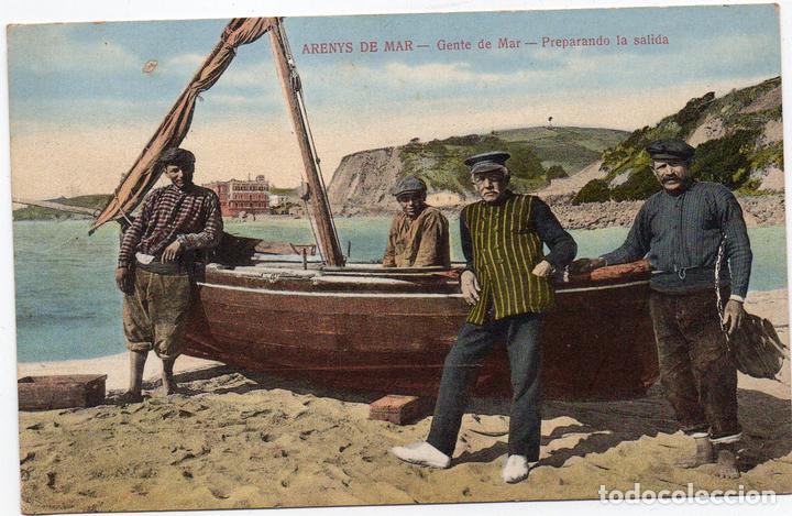 PS7600 ARENYS DE MAR 'GENTE DE MAR. PREPARANDO LA SALIDA'. JOSÉ BRAS. CIRCULADA. 1915 (Postales - España - Cataluña Antigua (hasta 1939))