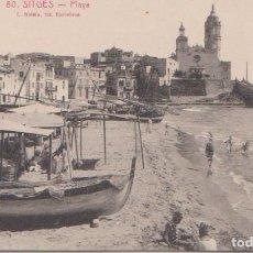 Postales: SITGES ( BARCELONA) - PLAYA - L. ROISIN FOT. BARCELONA. Lote 86461136