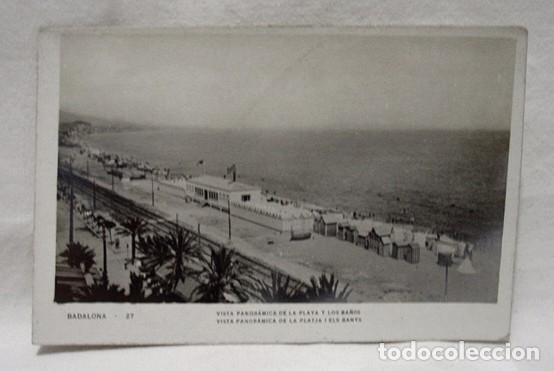 (CAT-208) POSTAL BADALONA-VISTA PANORÁMICA PLAYA Y BAÑOS-PLATJA I ELS BANYS-SIN CIRCULAR AÑOS 30 (Postales - España - Cataluña Antigua (hasta 1939))
