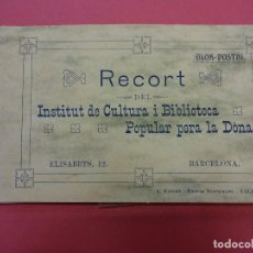 Postales: BLOCK 12 POSTALES RECORT INSTITUT DE CULTURA I BIBLIOTECA POPULAR PER A LA DONA. BARCELONA. FALTA 1. Lote 87785160