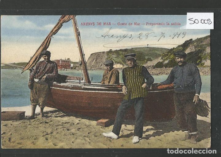 ARENYS DE MAR - POSTAL- GENTE DE MAR PREPARANDO LA SALIDA - JOSE BRAS - (50.008) (Postales - España - Cataluña Antigua (hasta 1939))
