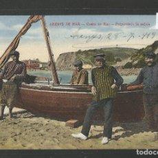 Postales: ARENYS DE MAR - POSTAL- GENTE DE MAR PREPARANDO LA SALIDA - JOSE BRAS - (50.008). Lote 92040775