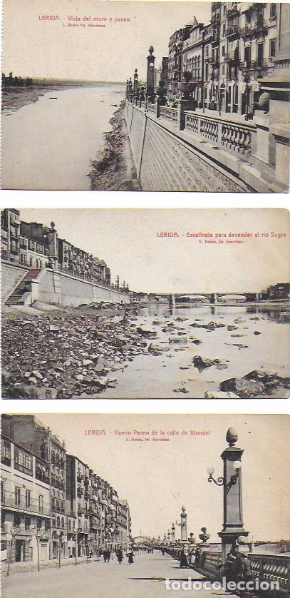 P- 7238. LOTE DE 3 POSTALES LERIDA. L. ROISIN. (Postales - España - Cataluña Antigua (hasta 1939))