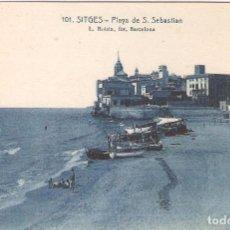 Postales: SITGES, PLAYA DE SAN SEBASTIAN, L.ROISIN, SIN CIRCULAR. Lote 95306911