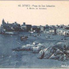 Postales: SITGES, PLAYA DE SAN SEBASTIAN, L.ROISIN, SIN CIRCULAR. Lote 95307067