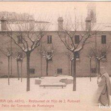 Postales: LA CONRRERIA, RESTAURANT HIJO J.AULADELL, PATIO DEL CONVENTO DE MONTALEGRE, L.ROISIN, SIN CIRCULAR. Lote 95307575