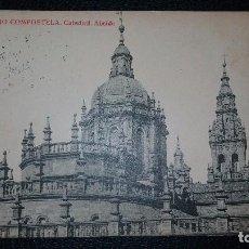 Postales: POSTAL SANTIAGO DE COMPOSTELA, CATEDRAL ABSIDE.PUBLICIDA ESCOLA MONTESSORI.FOTOTIPIA THOMAS. Lote 95970063
