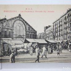 Postales: ANTIGUA POSTAL ANIMADA - BARCELONA. LOS ENCANTES Y MERCADO SAN ANTONIO. ED. ROVIRA - SIN CIRCULAR. Lote 96139967