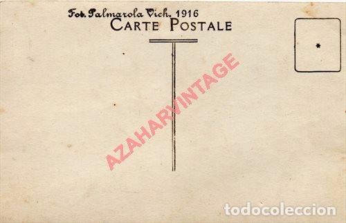 Postales: Foto-Postal de VICH: Plaça de Toros, militares .Fot.Palmarola de Vich, 1916 - Foto 2 - 96659815