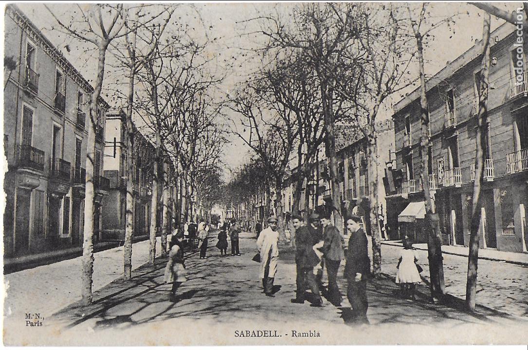 P- 7255. POSTAL SABADELL, RAMBLA. MN, PARIS. (Postales - España - Cataluña Antigua (hasta 1939))