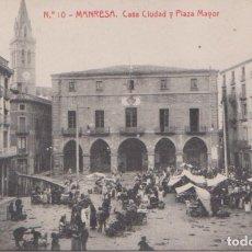 Postales: MANRESA (BARCELONA) - CASA CIUDAD Y PLAZA MAYOR. Lote 97672347