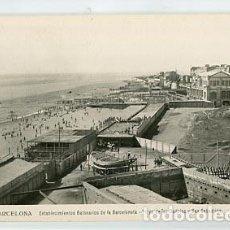 Postales: BARCELONA ESTABLECIMIENTOS BALNEARIOS DE LA BARCELONETA PLAYA DE LAS DELICIAS Y SAN SEBASTIAN. ORIOL. Lote 98581607