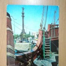 Postales: BARCELONA MONUMENTO A COLÓN DESDE LA CARABELA SANTA MARÍA. ED. ZERKOWITZ. CIRCULADA SIN SELLO. Lote 98705871