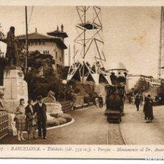 Postales: BARCELONA-TIBIDABO-PARQUE-TREN-MONUMENTO AL DR. ANDREU- ROISIN. Lote 102406455
