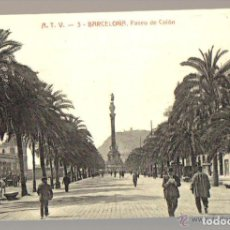 Postales: POSTAL ANTIGUA DE BARCELONA A.T.V. Nº 3 - PASEO DE COLON. Lote 103746511