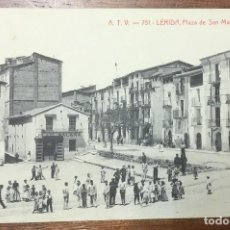 Postales: ATV - 751. LÉRIDA. PLAZA DE SAN MARTIN. CIRCULADA EN 1908. . Lote 104127735