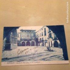 Cartes Postales: AGRAMUNT. CASA DE LA VILA I PLAÇA DE LA CONSTITUCIÓ. FOTOTIPIA THOMAS. CIRCULADA 1927. Lote 106101071