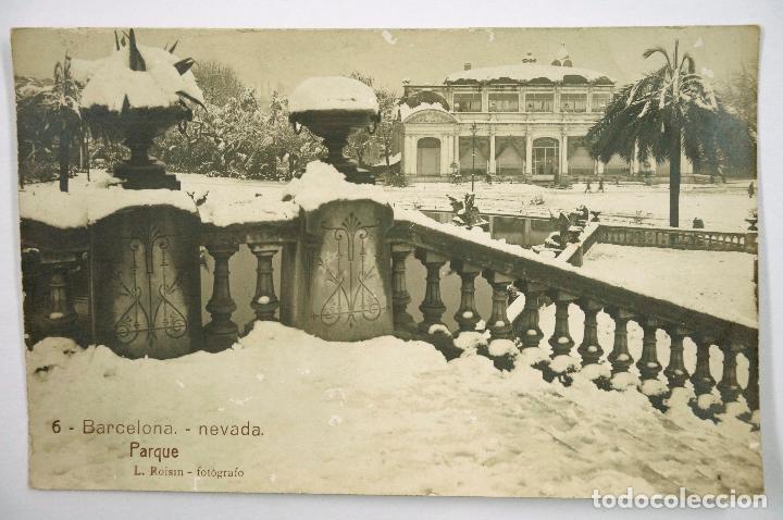 6 - BARCELONA, NEVADA. EL PARQUE, ROISIN FOTO. POSTAL FOTOGRÁFICA (Postales - España - Cataluña Antigua (hasta 1939))