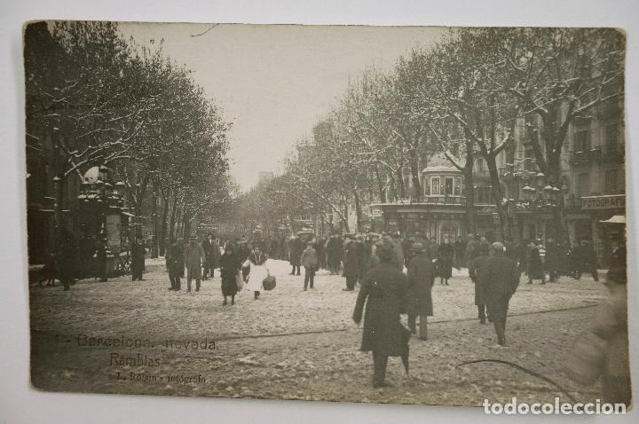 1- BARCELONA, LA RAMBLA, NEVADA DE 1914. ROISIN FOT. POSTAL FOTOGRÁFICA (Postales - España - Cataluña Antigua (hasta 1939))